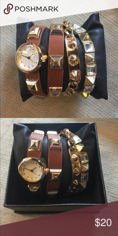 NWT Brown wrap watch and bracelet set #O NWT Brown wrap watch and gold spike bracelet set. Box included. Fun cute trendy affordable jewelry to coordinate your style and outfits. Buy 1 @ $20 or get a second set of your choice for $30. All orders are shipped same or next business day. Bundle to save even more money! Accessories Watches