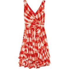 Oscar de la Renta Printed silk-chiffon dress ($1,374) ❤ liked on Polyvore featuring dresses, oscar de la renta, vestidos, red, knee length, red knee length dress, drapey dress, knee high dresses, wrap style dress and red layered dress