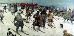 ''Campaign of Muscovites. 16th-century'' Artwork by S. V. Ivanov, 1903. Medieval Russians used skis to facilitate transportation during their winter campaigns. #art #history