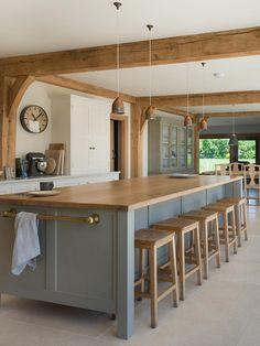 Blue Kitchen Island, Farmhouse Kitchen Island, Modern Farmhouse Kitchens, Wooden Kitchen, Colonial Kitchen, Best Kitchen Design, Beautiful Kitchen Designs, Beautiful Kitchens, Ikea