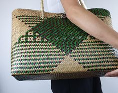 Unique handmade products by NakarinByNakarin on Etsy Handmade Wallets, Handmade Bags, Flax Weaving, Hand Weaving, Basket Weaving Patterns, Backpack Pattern, Straw Handbags, Handmade Scarves, Handmade Products