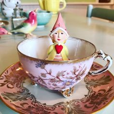 What's in your Valentine cup of tea?! Cupid's Heart Elf is soaking it up in ours! #Valentine #Cupid