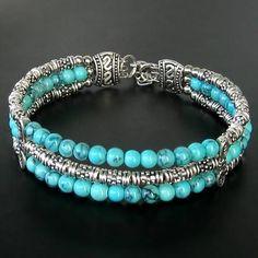 Handmade Jewelry Tibetan Silver Blue Turquoise Adjustable Bangle Bracelet #Handmade