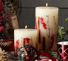 Snow Currant Botanical Pillar Candle | Pottery Barn