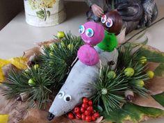 Rata de moniato y niñas de castañas pintadas por Paula de 3 años. Decorado con elementos del otoño en Catalunya.