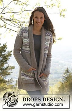 Ravelry: 142-9 Ulrika - Jacket with pattern borders and pockets in Karisma pattern by DROPS design