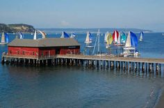 Historic Coupeville Wharf, Whidbey Island, WA during Race Week. Photo by The Whidbey Examiner. America Washington, Seattle Washington, Washington State, Beautiful Places To Visit, Places To See, Coupeville Washington, Sailboat Racing, Oak Harbor, Orcas Island