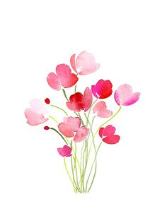 Handmade Watercolor Bouquet of Tulips in Pink