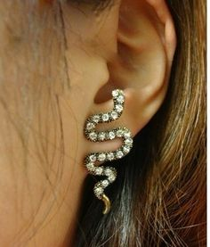 Swarovski Crystal Snake Earrings.  Cute <3