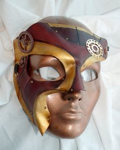 Steampunk TwoFace Leather Phantom of the Opera by PlatyMorph, $75.00  (colors remind me of Iron Man)