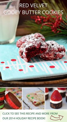 Red Velvet Gooey Butter Cookies by @tidymom, Chocolate sandwich cookies by @fakeginger, and other holiday desserts from influencers on Pinterest!