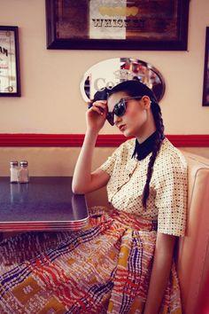 Highsnobette Photo Editorial: Berlin Diner By Laura Palm Vintage Diner, Retro Diner, Vintage Modern, Retro Photography, Fashion Photography, Fashion Shoot, Editorial Fashion, Fashion Sets, Retro Vintage