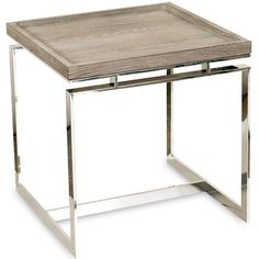 "DIMENSIONS  24""H 24""W 24""D     FEATURES  Stainless Steel Base Oak Top     FINISH  Cerused Sand"