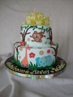 Baby shower jungle theme cake By erin12345 on CakeCentral.com