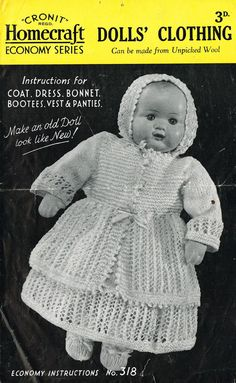 Cronit homecraft 318  dolls matinee coat and dress by Ellisadine, £1.15