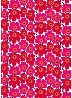 Revel In Color. The Pieni Unikko print of medium-sized flowers brightens up any room; use it for a duvet cover, tablecloth or set of curtains. The cotton Pieni Unikko print isn't limited to static creations, it also makes go Marimekko Wallpaper, Marimekko Fabric, Fabric Wallpaper, Pattern Wallpaper, Iphone Wallpaper, Cute Baby Wallpaper, Print Wallpaper, Motif Vintage, Art Vintage