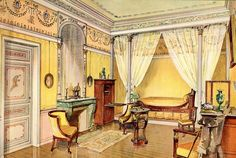 French Bedroom Interior by Georges Remon Mansion Interior, Luxury Interior, Interior And Exterior, Classic Interior, Interior Design, Restauration D'art, Pierre Henri, 1920s Bedroom, Tableaux D'inspiration