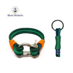 Bran Marion Green and Orange Nautical Bracelet & Keychain Nautical Bracelet, Nautical Jewelry, Handmade Bracelets, Bracelets For Men, Reef Knot, Marine Rope, Surfer Bracelets, Green And Orange, Boyfriend Gifts