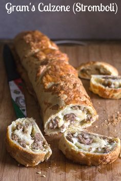 Gram's Calzone, use a store bought or homemade pizza dough, stuffed with shredded mozzarella and Italian sausage then rolled sprinkled with more mozzarella and then baked to cheesy perfection. The perfect appetizer or main dish. Italian Sausage Pizza, Sausage Bread, Stromboli Italian, Italian Sausage Stromboli Recipe, Italian Bread, Italian Dishes, Italian Recipes, Beef Recipes, Cooking Recipes
