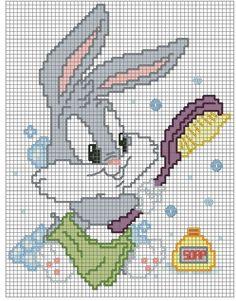 Schemi looney tunes - idee a punto croce. Cross Stitch Baby, Cross Stitch Animals, Cross Stitch Designs, Cross Stitch Patterns, Cross Stitching, Cross Stitch Embroidery, Baby Bugs Bunny, Baby Looney Tunes, Stitch Cartoon