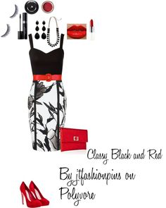 """""""Classy Black & Red"""" by jtfashionpins on Polyvore"""