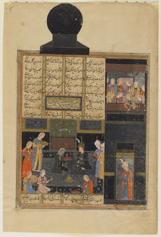 Arts of the Islamic World | Folio from a <i>Khamsa</i> (Quintet) by Nizami (d.1209); verso: Bahram Gur and the Princess in the Black Pavilion; recto: text, Construction of Seven Domes by Bahram | S1986.182