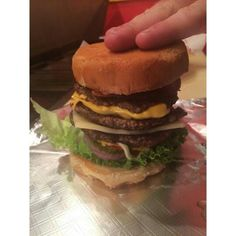 """Check out our NEW Improved Triple Burger - people said the """"Burger As Big As Your Head"""" wasn't quite big enough - so we made it EVEN BIGGER!!! It's now 3/4 lb of premium Angus beef with two kinds of cheese and all the toppings you can pile on it! Try it today! Call 281-5426 to order. Triple Burger headed out the door! A burger as big as your head!  ************************************************* Order Online Now ➡️  www.GyreneBurger.com  #burger #knoxville #burgers #fortsanders…"""