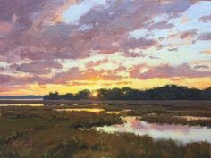 View Original Paintings by Michael B. Karas at The Red Piano Art Gallery Pastel Landscape, Abstract Landscape, Landscape Paintings, Landscapes, River Painting, Painting Tips, Sky And Clouds, Nature Pictures, Painting Inspiration