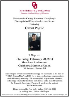 Come see tech expert David Pogue speak about STEM education @University of Oklahoma on February 20th!
