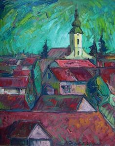 Lajos Kovács Emil - Roofs (Szatmárnémeti) Paintings, Contemporary, Art, Art Background, Paint, Painting Art, Kunst, Painting, Portrait