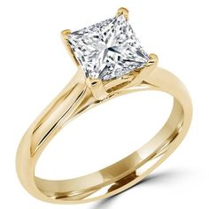 Majesty Diamonds - 1 1/10 CT Solitaire Princess Cut Diamond Cathedral Set Engagement Ring in 14K Yellow Gold #ido #engagementring