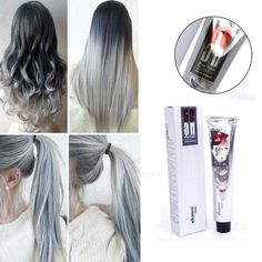 Fashion Unisex Smoky Gray Punk Style Light Grey Silver Permanent Hair Dye Color Cream