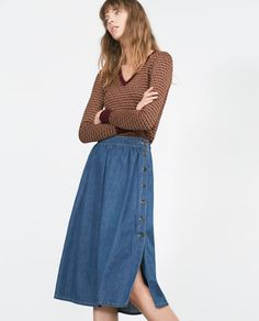Image 2 of FLOWING DENIM SKIRT from Zara