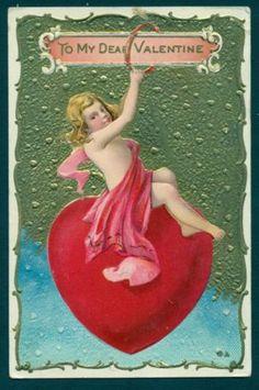 G1668 Valentine Postcard Naked Girl Swinging on Heart | eBay