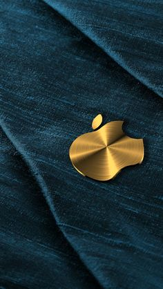 Gold Apple Over Denim Wallpaper