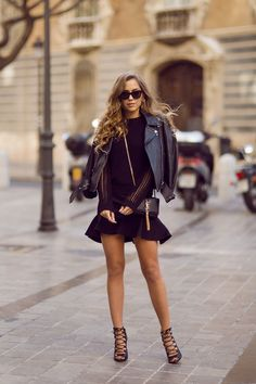 Kenza Street Style March 2014 Wearing Leatherjacket From Acne YSL Bag And IvyRevel Sweater With Mesh Arms