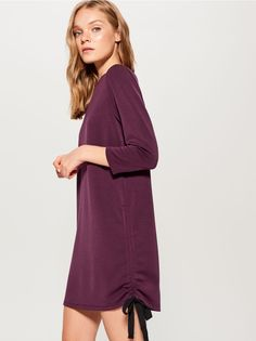 Dzianinowa sukienka z wiązaniem - bordowy - UB035-83X - Mohito - 1 Knit Dress, Jumpsuits, High Neck Dress, Lady, Dresses, Fashion, Overalls, Turtleneck Dress, Vestidos