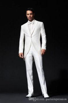 Find More Suits Information about White dress and groom suits men peak lapel… White Tuxedo Wedding, White Wedding Dresses, Wedding Men, Wedding Suits, Wedding Stuff, Wedding Dress Buttons, Groomsmen Tuxedos, Morning Suits, Designer Suits For Men