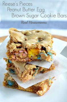 Reese's Pieces Peanut Butter Egg Brown Sugar Bars | Real Housemoms | Oh my goodness!!! Soooooo good.