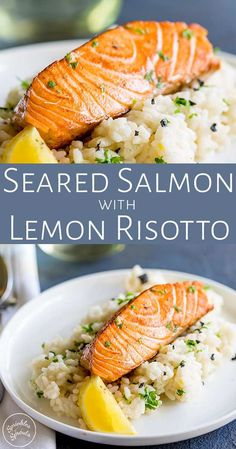 This Seared Salmon with Lemon Risotto is an elegant main course perfect for entertaining or if you are spending date night at home. A creamy risotto and a crispy seared salmon fillet, all coming together with plenty of lemon, parsley and black pepper. With this simple recipe you can create this restaurant quality dish easily at home. The lemon risotto makes a great rice side dish for the succulent salmon.