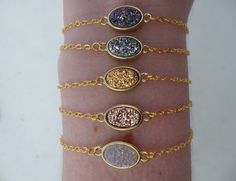 Druzy Oval Bracelet http://www.tiffanyrosedesigns.net/new-products-2/druzy-oval-bracelet