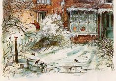 Shirley Hughes beautiful snow in the garden sketch. Art And Illustration, Christmas Illustration, Book Illustrations, Illustration Pictures, Shirley Hughes, Christmas Art, Christmas Pictures, Vintage Christmas, Holly Hobbie