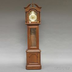 """Lot: Ethan Allen """"Tempus Fugit"""" Grandfather Floor Clock, ht., Lot Number: 0530, Starting Bid: $100, Auctioneer: Skinner , Auction: Discovery: Furniture & Decorative Arts, Date: April 18th, 2013 CDT"""