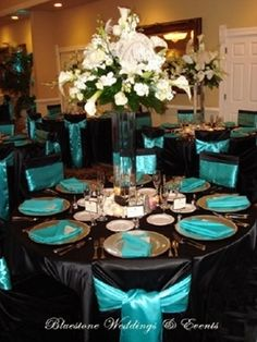 Wedding reception decor - black and teal i like this idea maybe with silver where the teal is, teal in center pieces - Click image to find more weddings posts