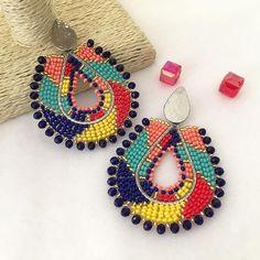 Tribal Earrings, Copper Earrings, Beaded Earrings, Statement Earrings, Crochet Earrings, Rooster Art, Earring Crafts, Beaded Crafts, Lalaloopsy