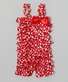 Look at this #zulilyfind! Red Polka Dot Satin Ruffle Romper - Infant, Toddler & Girls by Wenchoice #zulilyfinds