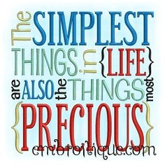 The Simplest Things Word Block - 2 Sizes! | Words and Phrases | Machine Embroidery Designs | SWAKembroidery.com Embroitique