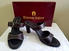 6925e48c7b6 Etienne Aigner deep brown leather shoes sandals w box VGC