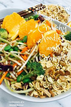 Easy, healthy, quick and delicious! What more can you ask for? vegan, dairy free Asian Slaw with Crunchy Noodles and Oranges