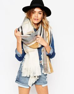 Image 1 of ASOS Oversized Scarf With Check & Reversible Stripe With Raw Tassel Edge